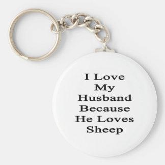 I Love My Husband Because He Loves Sheep Keychain