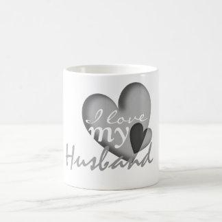 I love my husband black & white heart mugs