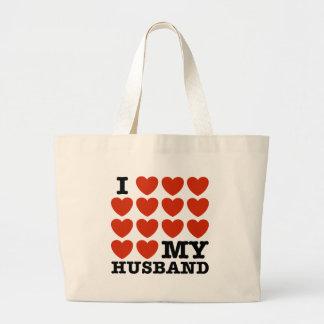 I Love My Husband Canvas Bags