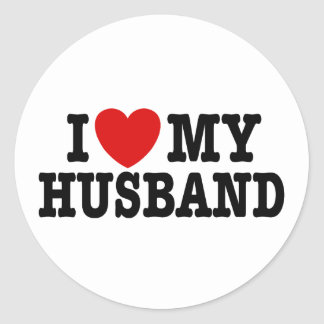 I Love My Husband Classic Round Sticker