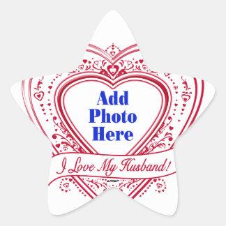 I Love My Husband! Photo Red Hearts Star Sticker
