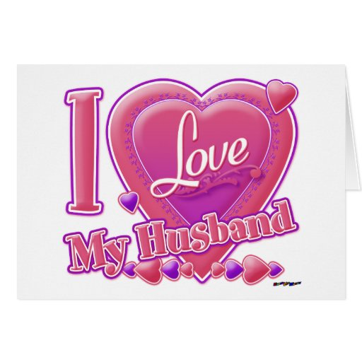 I Love My Husband pink/purple - heart Card