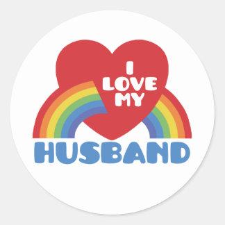 I Love My Husband Round Stickers