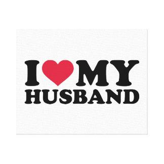 I love my husband stretched canvas print