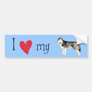 I Love my Husky Car Bumper Sticker