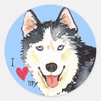 I Love my Husky Classic Round Sticker