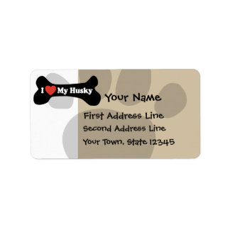 I Love My Husky  - Dog Bone Personalized Address Labels