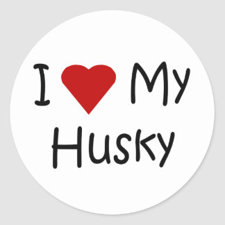 I Love My Husky Dog Breed Lover Gifts Classic Round Sticker