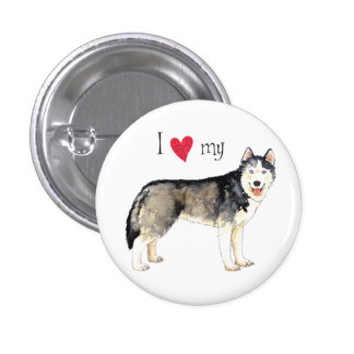 I Love my Husky Pinback Button