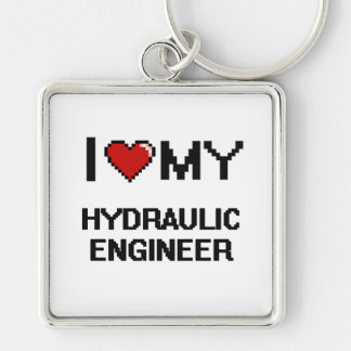 I love my Hydraulic Engineer Silver-Colored Square Keychain