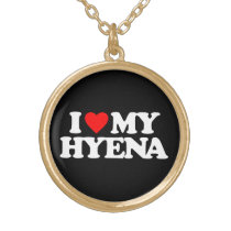 I LOVE MY HYENA GOLD FINISH NECKLACE