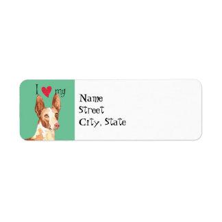 I Love my Ibizan Hound Return Address Label