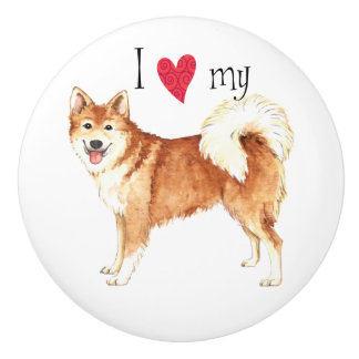 I Love my Icelandic Sheepdog Ceramic Knob