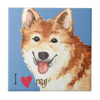 I Love my Icelandic Sheepdog Ceramic Tile
