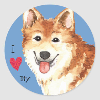 I Love my Icelandic Sheepdog Classic Round Sticker