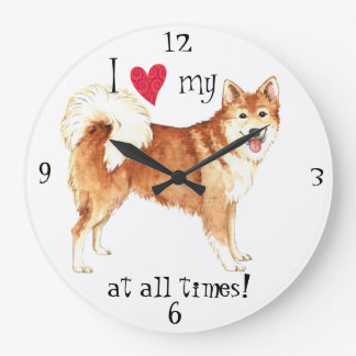 I Love my Icelandic Sheepdog Large Clock