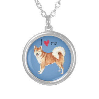 I Love my Icelandic Sheepdog Silver Plated Necklace