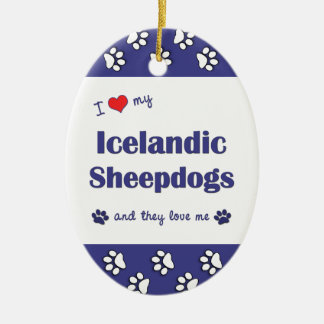 I Love My Icelandic Sheepdogs (Multiple Dogs) Double-Sided Oval Ceramic Christmas Ornament