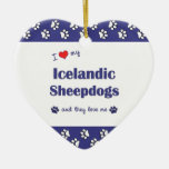 I Love My Icelandic Sheepdogs (Multiple Dogs) Christmas Ornaments