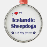 I Love My Icelandic Sheepdogs (Multiple Dogs) Christmas Tree Ornaments