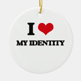 I Love My Identity Double-Sided Ceramic Round Christmas Ornament