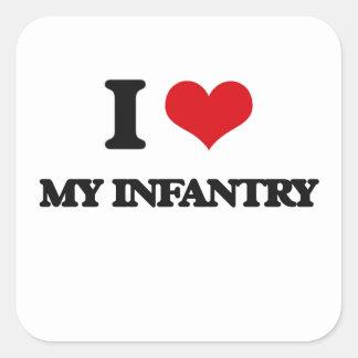 I Love My Infantry Square Sticker