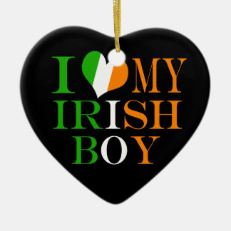 I Love My Irish Boy Ceramic Ornament