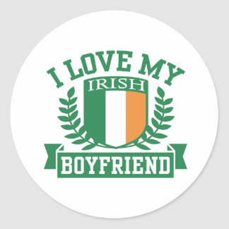 I Love My Irish Boyfriend Classic Round Sticker
