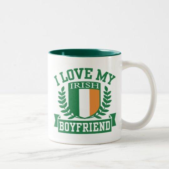 I Love My Irish Boyfriend Two-Tone Coffee Mug