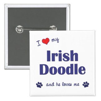 I Love My Irish Doodle (Male Dog) Pinback Button