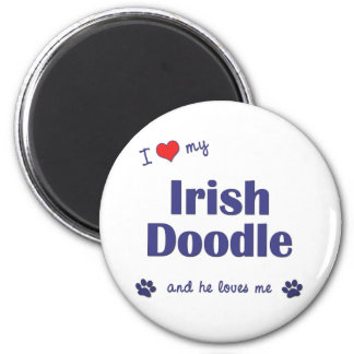 I Love My Irish Doodle (Male Dog) 2 Inch Round Magnet