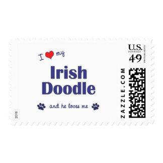 I Love My Irish Doodle (Male Dog) Postage Stamp