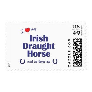 I Love My Irish Draught Horse (Male Horse) Postage Stamp