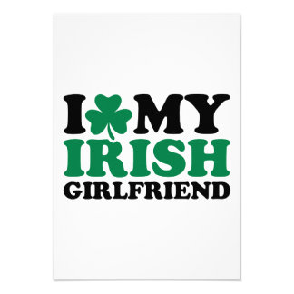 I love my irish girlfriend shamrock custom invites
