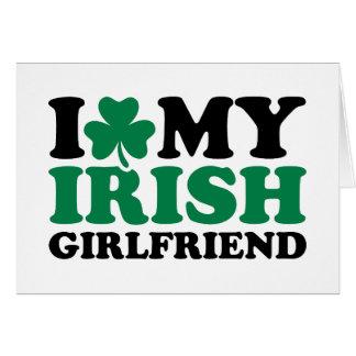 I love my irish girlfriend shamrock greeting cards