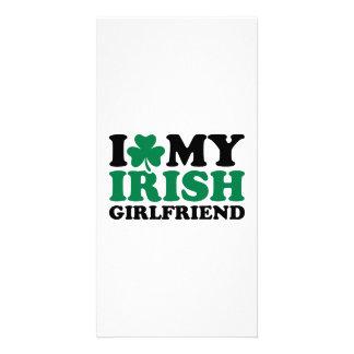 I love my irish girlfriend shamrock photo card