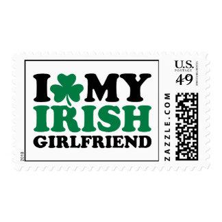 I love my irish girlfriend shamrock postage stamps