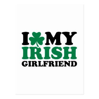 I love my irish girlfriend shamrock postcards