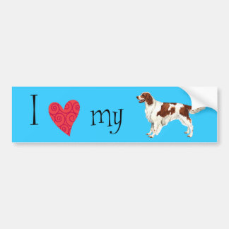 I Love my Irish Red and White Setter Bumper Sticker