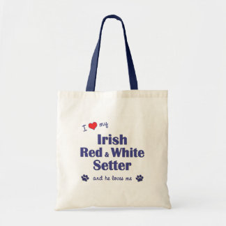 I Love My Irish Red and White Setter (Male Dog) Budget Tote Bag