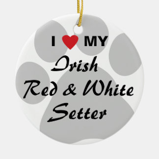 I Love My Irish Red and White Setter Christmas Ornament