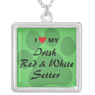 I Love My Irish Red and White Setter Silver Plated Necklace