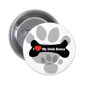 I Love My Irish Setter  - Dog Bone 2 Inch Round Button