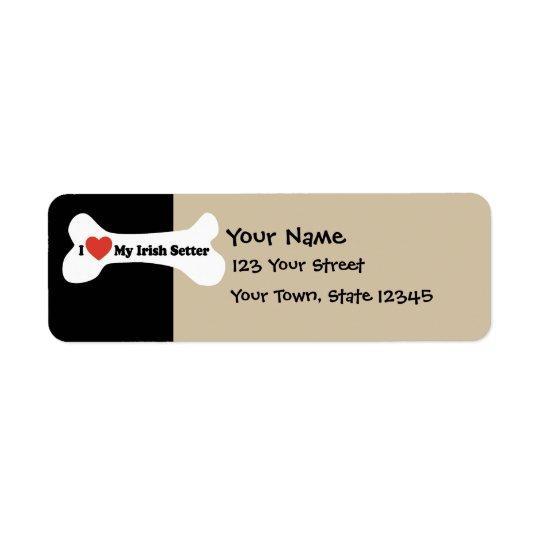 I Love My Irish Setter  - Dog Bone Label