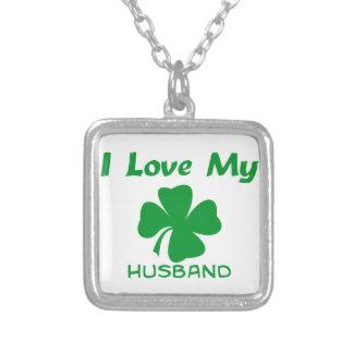 I Love My Irish Square Pendant Necklace