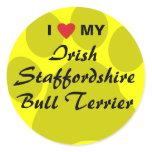 I Love My Irish Staffordshire Bull Terrier Classic Round Sticker