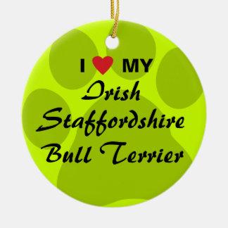 I Love My Irish Staffordshire Bull Terrier Christmas Tree Ornaments
