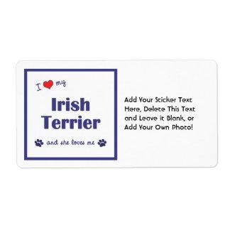 I Love My Irish Terrier (Female Dog) Shipping Label