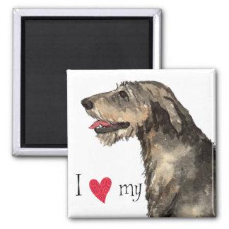 I Love my Irish Wolfhound 2 Inch Square Magnet