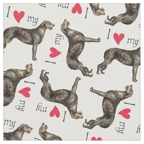 I Love my Irish Wolfhound Fabric